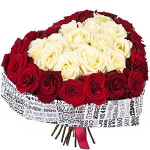 замовити «Серце для королеви» з червоних і білих троянд