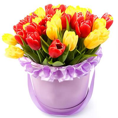 замовити Жовті і червоні тюльпани в коробці