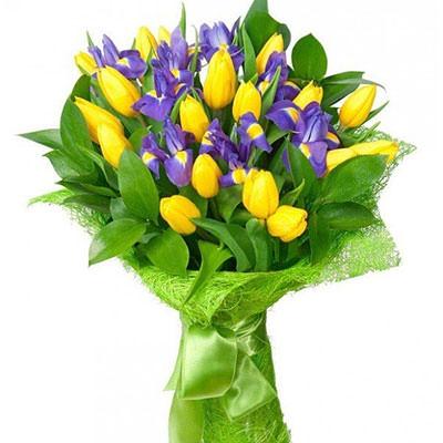 """замовити Букет """"Жовтий тюльпан і синій ірис!"""""""
