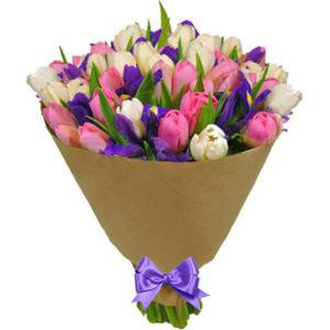 """замовити Букет тюльпанів та ірисів """"Подих весни"""""""