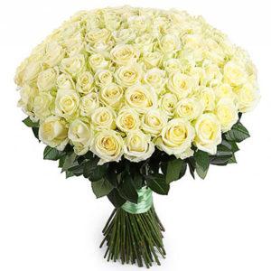 замовити 101 біла троянда