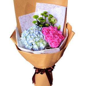 """замовити Букет рожевих троянд і гортензій """"Відродження"""""""