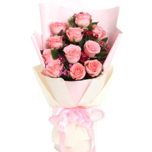 """замовити 11 рожевих троянд """"Неповторна"""""""