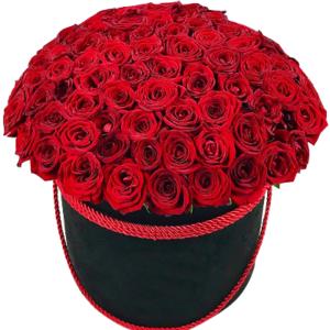 замовити 101 червона троянда в коробці