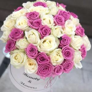 """замовити 51 біла і рожева троянда в коробці """"Ніжний поцілунок!"""""""