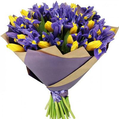 """замовити Букет тюльпанів та ірисів """"Ніжність"""""""