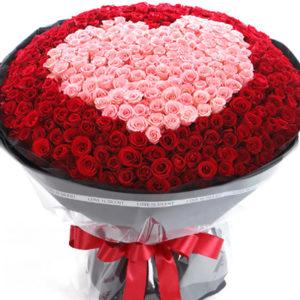 замовити +1001 червона і рожева троянда в вигляді серця
